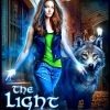 Photo of a young woman surrounded by a glowing blue light in a dark alley accompanied by a gorgeous and huge gray wolf.