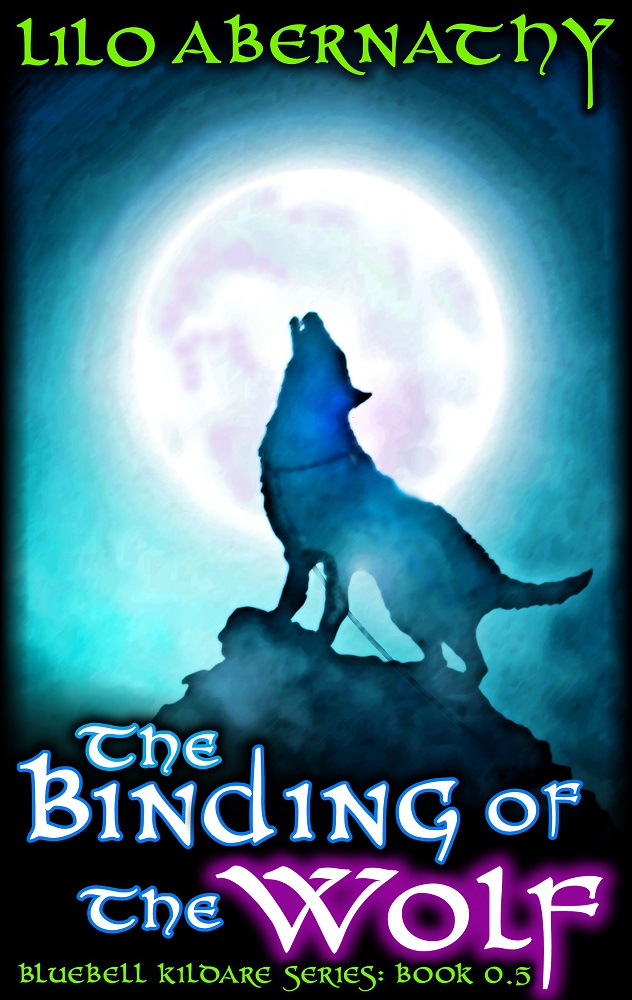 Silouette of a dark wolf in front of a large moon, tied to a rock. The wolf howls forlornly into the night.