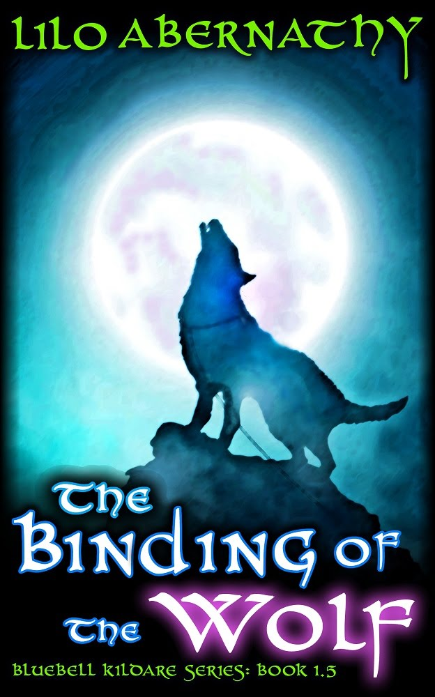 Book cover with image of a dark wolf standing in front of the moon so the light shines around him. He is chained to a rock and is howling forlornly.