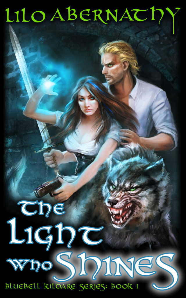 Book cover with image of young adult surrounded by a glowing blue light and accompanied by a gorgeous large wolf. The scene is located in an alley at night.